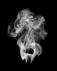photo of white smoke on black background